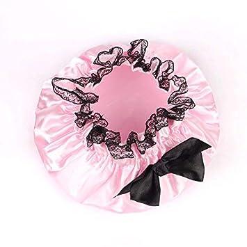 Rose Taille Unique Domitlar Bonnet de Douche imperm/éable pour Femme avec n/œud et Bande /élastique Double Couche