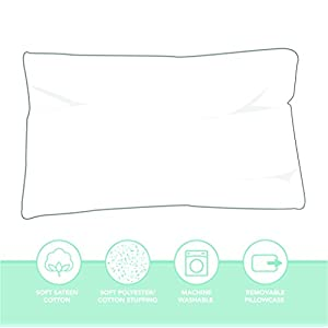 Snoozy Hypoallergenic Luxury Soft Toddler/Travel Pillow and Cotton Pillowcase, 13″x 18″