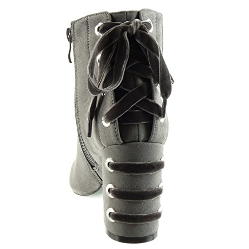Angkorly 8 Femmes Talon Butin Mode Bottes Chaussures Pour Cheville Gris Bloc Lacets De Cm Cavalier 5 La Haut pq161t