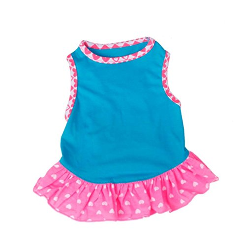 Small Dog Dress Harness Clothes (Small Dog Dress , Voberry® Fashion Pet Dog T-Shirt Dress Dog Cat Cute Summer Vest Skirt (S, Blue))