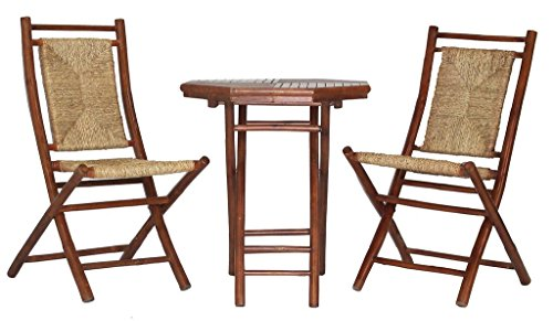 Heather Ann Creations The Lana'l Collection Contemporary Style Bamboo Wooden 3-Piece Table and Chairs Outdoor Patio Bistro Dining Set, Brown (Chairs Wooden And Set 2 Table Bistro)