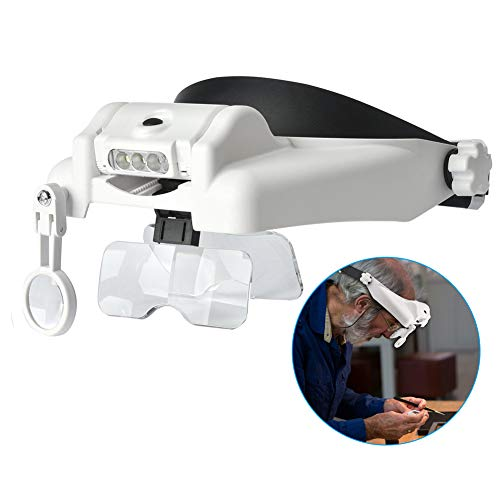 Headband Lighted Magnifying Glasses with Led Light, Head Mount Magnifier Glasses Visor Handsfree Headset Magnifier Loupe for Close Work,Sewing,Crafts,Reading,Repair,Jewelry(1.0X to 14.0X)