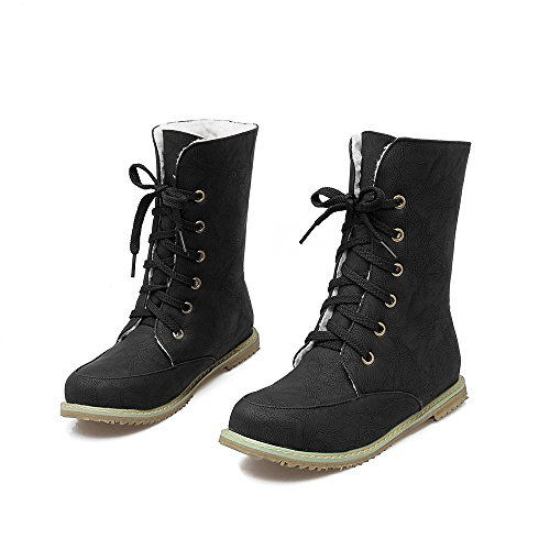 Womens Martin Warm Black Fur Shoes Motorcycle Lace Boots Snow up AIWEIYi Boots Flat Lining UzwfUd