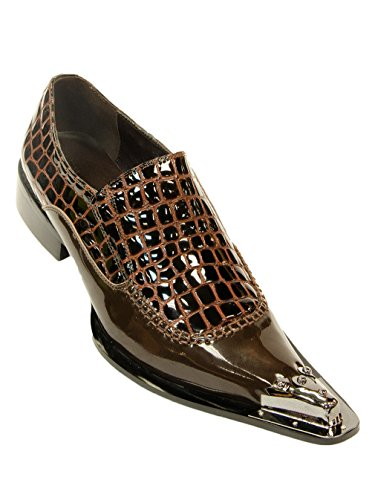 Zota Mens Patent Alligator Präglat Läder Slip-on, Brun