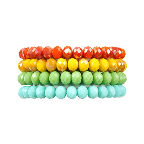 (RIAH FASHION Multilayer Beaded Stretch Stacking Bracelets - Multi Strand Colorful Sparkly Beads Statement Wrap Slip-on Cuff Bangles (Sparkly Mix -)