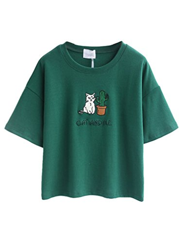 persun-green-embroidery-letter-and-cat-short-sleeves-crop-t-shirt-topone-sizegreen