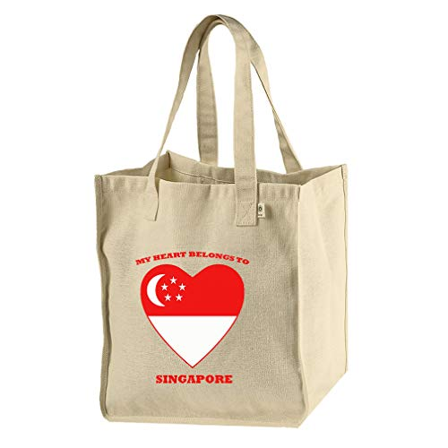 Love Soccer Heart Singapore Style 1 Hemp/Cotton Canvas Market Bag Tote