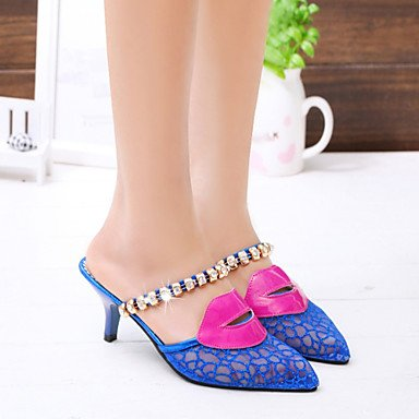 LvYuan Mujer-Tacón Stiletto-Talón Descubierto-Sandalias-Exterior Oficina y Trabajo Vestido-Semicuero-Azul Oro Gold