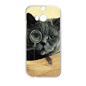 Cat Monocle Glasses HTC One M8 Cell Phone Case White Delicate gift JIS_357296