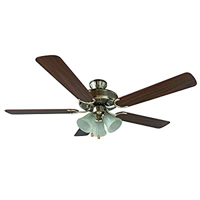Yosemite Home Decor CALDER-SN-3 52-Inch Ceiling Fan with Light Kit and Walnut/Wengue Blades, Satin Nickel