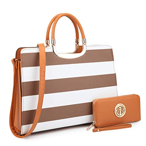 Dasein Designer Purse Stripes Satchel Handbag PU Leather Purse Top Handle Handbags (XL2828 stripe 2PCs- Coffee/White)