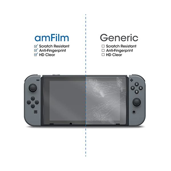 amFilm Tempered Glass Screen Protector for Nintendo Switch 2017 (2-Pack) 4