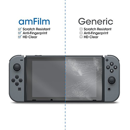 Large Product Image of Nintendo Switch Screen Protector Glass, amFilm Nintendo Switch Tempered Glass Screen Protector for Nintendo Switch 2017 (2-Pack)
