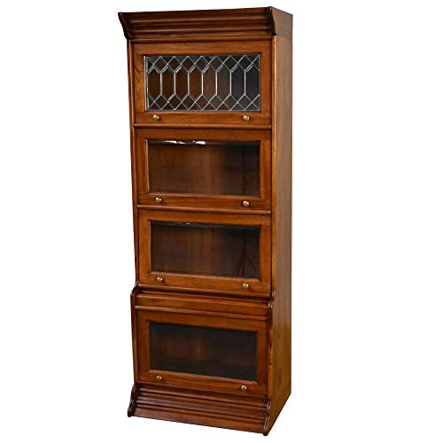Crafters and Weavers Legacy 4 Door Barrister Bookcase - Light Brown Walnut
