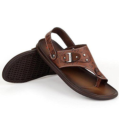 Odema Mens Summer Business Sandals Leather Casual Slippers Shoes Flip Flops Brown i48qyvvpF9