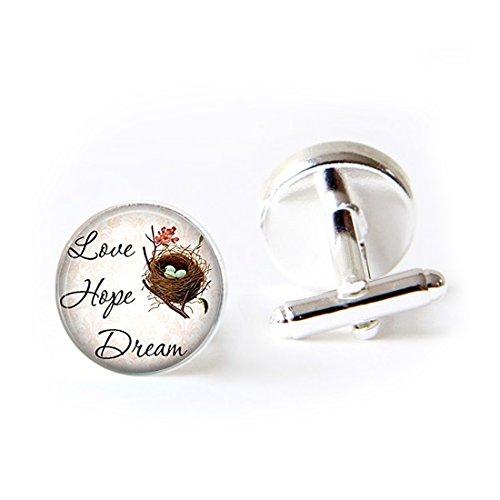 Unique Round Cufflinks Set Sayings Love Hope Dream Pendant Art Glass Cuff Dress Shirt Links Wedding Business Anniversary Gift for Him by LAROK WAZZIT (Image #1)'