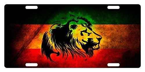 Fast Service Designs Rasta Flag Custom License Plate Rastafarian Emblem Lion Version