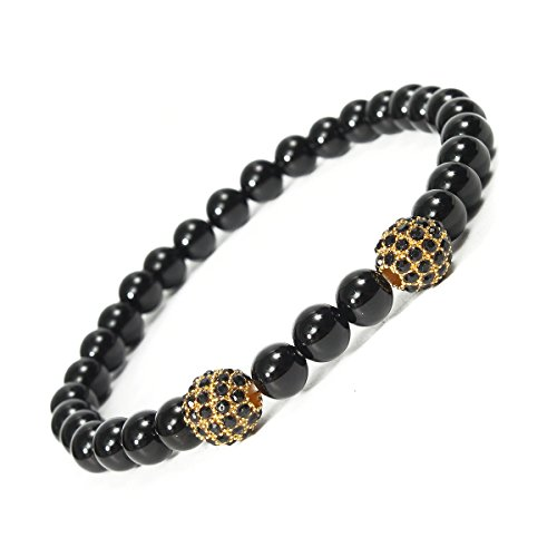 Bracelets Unisex Black Onyx Inlay Zircon Crystal Balls Elastic Bracelet Jewelry (Negative Space Watch compare prices)