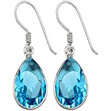 12.00ctw Genuine Gemstone & 925 Silver Plated Dangle Earrings Made By Sterling Silver Jewelry