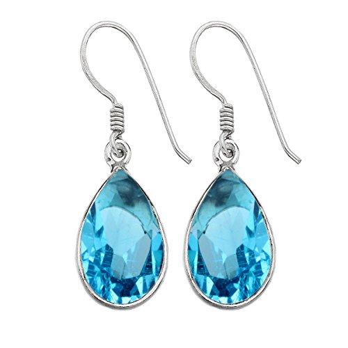 12.00ctw, Simualted Blue Topaz & 925 Silver Plated Dangle Earrings Made By Sterling Silver Jewelry