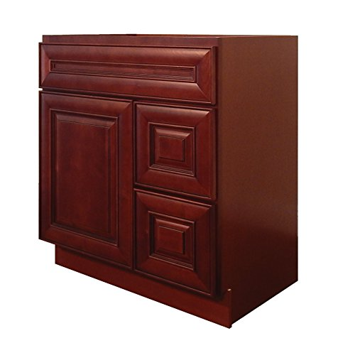 "NGY MC-3021DR Vanity Cabinet Maple Wood, 30"" L, Cherry"