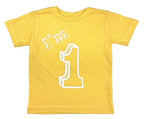 Birthday T-shirt Yellow - how-z-it I'm 1 T-Shirt - One Year Old Birthday Party (24 Month, Yellow)