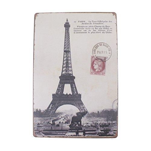 12x8 Inches Pub,bar,Home Wall Decor Souvenir Hanging Metal Tin Sign Plate Plaque (Paris Eiffel Tower)