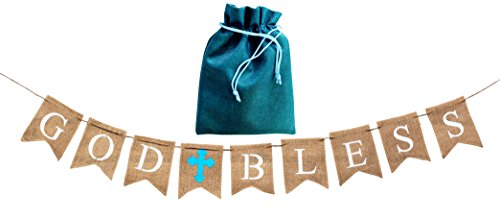 God Bless Cross Baby (God Bless Baptism Banner,Holy Communion Party Christening Decoration Blue Cross-BOY, beautiful burlap decor,BONUS storage bag,handmade versatile usage,Natural 100% biodegradable Environment friendly)