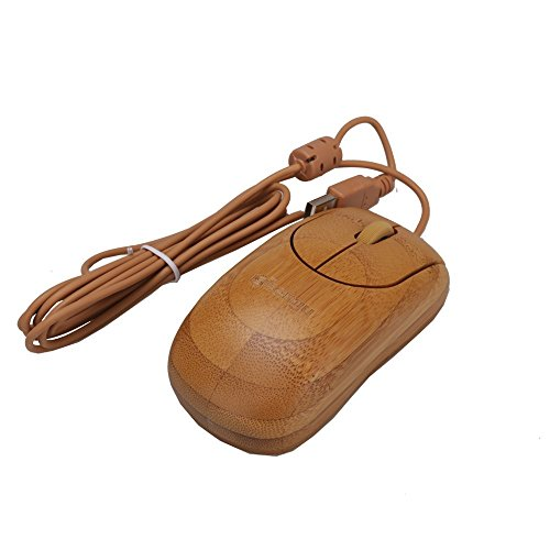 Bamboo Corded Mouse Wired USB Optical Mouse,Compatible with PCs, Macs, Desktops and Laptops(SG-MU1055)