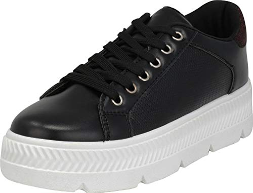 Cambridge Select Women's Low Top 90s Perforated Glitter Lace-Up Chunky Platform Flatform Fashion Sneaker,5.5 B(M) US,Black ()