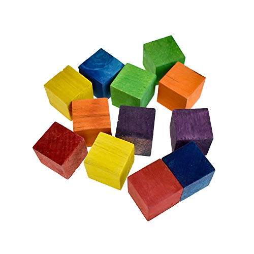 Homeford Multi-Colored Wooden Cube Blocks, 3/4-Inch, 12-Piece