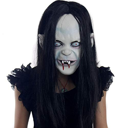 Moxeay Hot Halloween Toothy Zombie Ghost Mask Scary Emulsion Skin with Hair -