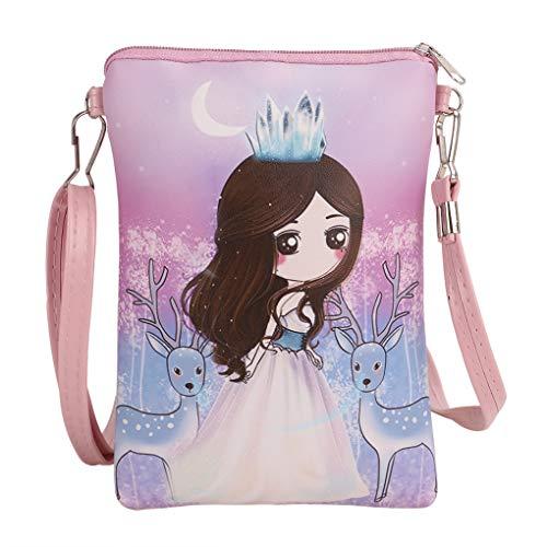 Kids Girls Cute Cartoon Princess Wallet Coin Purse Card Holder Crossbody Shoulder Bag Cellphone Pouch (Purple)