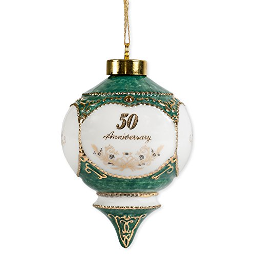 Happy 50th Wedding Anniversary Jewel Victorian 4.5 Inch Ball Hanging (50th Wedding Anniversary Keepsakes)