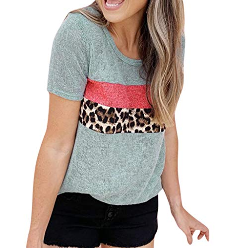 - Tantisy ♣↭♣ Women's Simple Knitting T-Shirt Short Sleeve Leopard Patchwork Casual Ladies Blouse Blue