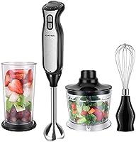 Immersion Hand Blender EVERUS 4-in-1 Hand Blender Stick with 700ml Food Chopper,700ml Mixing Beaker, Stainless Steel...