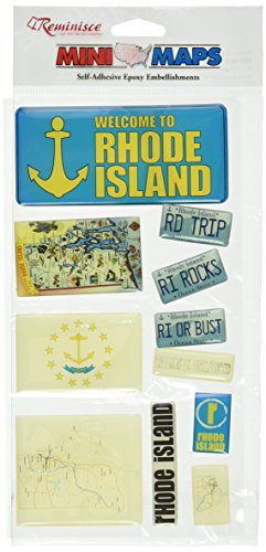 Reminisce Mini Maps Self-Adhesive Epoxy Embellishments 10 Per Package, Rhode Island