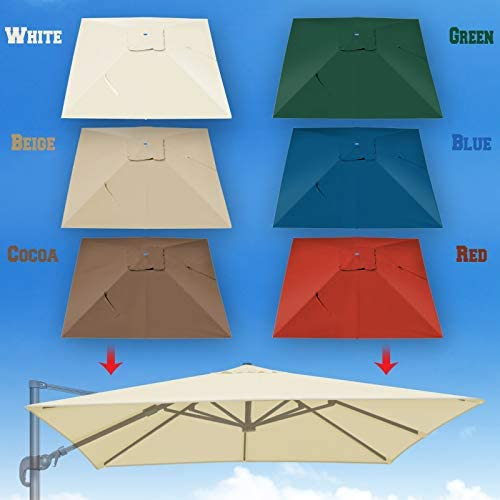 BenefitUSA Outdoor Canopy Top Cover Replacement Canopy for 10 x10 Rome Cantilever Patio Umbrella Red