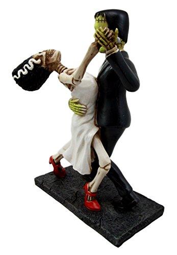 Atlantic Collectibles Day Of The Dead Wedding Foxtrot Dance Skeleton Frankenstein Skull Bride And Groom Couple Figurine