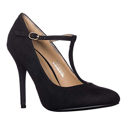 Riverberry Women's Sadie Round Toe T-Strap High Heel Pumps, Black Suede, 7 ()