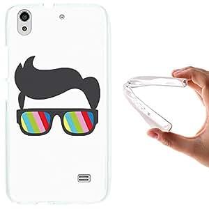 WoowCase - Funda Gel Flexible { Huawei Ascend G620S } Gafas y Peinado Nerd Carcasa Case Silicona TPU Suave