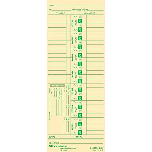 Office Depot Time Cards, Biweekly, Days 1-7, 2-Sided, 3 3/8in. x 8 7/8in, Manila, Pack of 100, GB-740040
