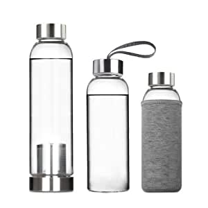 Teachado - Portable Real Borosilicate Glass Water Tea Bottle Travel Mug with Nylon Sleeve with/without Tea Infuser (550ML with Tea Infuser, Blue)