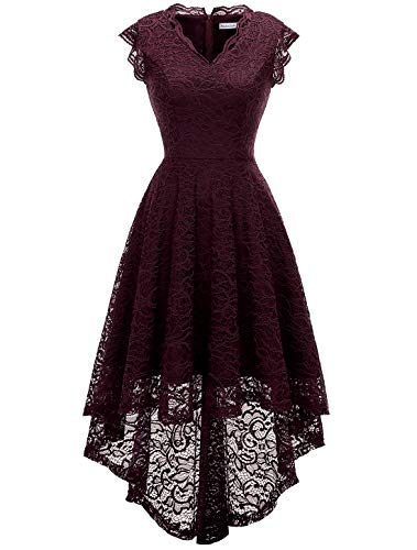 (Modecrush Womens Ruffle Sleeve Bridesmaid Formal Hi Lo Floral Lace Cocktail Party Dresses V Neck 2XL Burgundy)