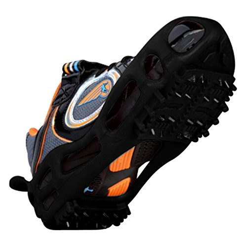 Quadtrek All-Terrain Slip-on Stretch fit Cleats for Snow, Mud, Grass and Ice - Provides anti-slip Traction for Boots and Shoes while walking, running on any surface- SIZE LARGE