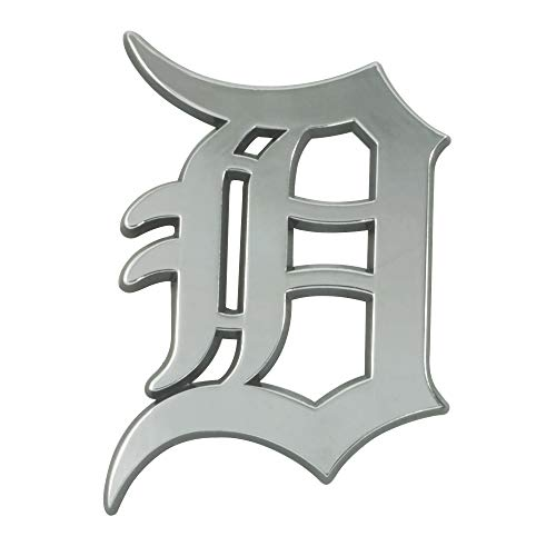Detroit Tigers Metal - SLS FANMats Detroit Tigers Premium Solid Metal Chrome Raised Auto Emblem Decal Baseball