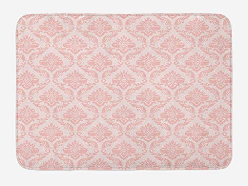 Lunarable Blush Bath Mat, Damask Motif Retro Design of Floral Pattern with Swirling Petals and Branches, Plush Bathroom Decor Mat with Non Slip Backing, 29.5 W X 17.5 L Inches, Pink White