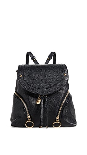 See by Chloe Women's Olga Convertible Backpack, Black, One Size Chloe Calfskin Leather