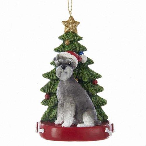 (Kurt Adler SCHNAUZER WITH CHRISTMAS TREE ANE LIGHTS ORNAMENT FOR PERSONALIZATION)