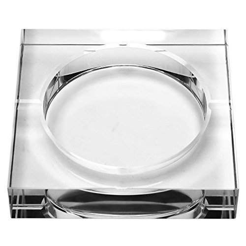 Crystal Ashtray, Clear Crystal Glass Square Ashtray, Smoking Cigarette Ashtray with 4 Cigar Slots Fashion Home Business Gift Transparent - Crystal Ashtray Clear